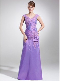 A-Line/Princess V-neck Sweep Train Taffeta Mother of the Bride Dress With Ruffle Lace Beading