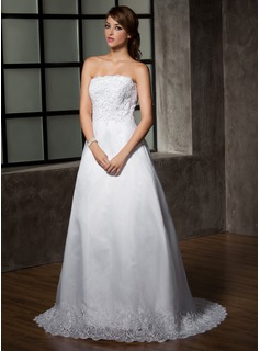 A-Line/Princess Strapless Court Train Organza Satin Wedding Dress With Ruffle Lace Beadwork (002001223)