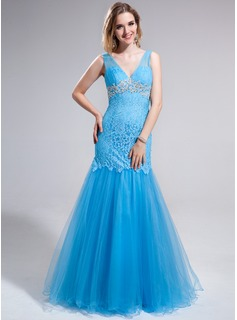 Mermaid V-neck Floor-Length Tulle Lace Prom Dress With Appliques Sequins