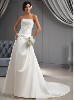 A-Line/Princess Sweetheart Chapel Train Satin Wedding Dress With Ruffle Beadwork (002022673)
