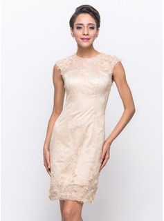Sheath/Column Scoop Neck Knee-Length Satin Tulle Lace Cocktail Dress With Beading Flower(s)