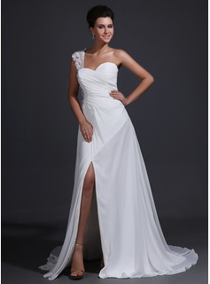 Sheath One-Shoulder Court Train Chiffon Holiday Dress With Ruffle Lace