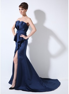Mermaid Scalloped Neck Court Train Satin Evening Dress With Ruffle (008006320)