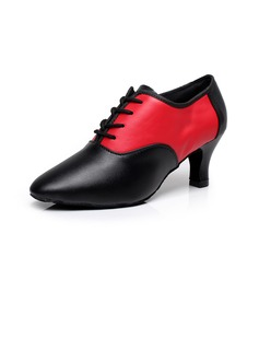 Women's Real Leather Heels Modern With Lace-up Dance Shoes