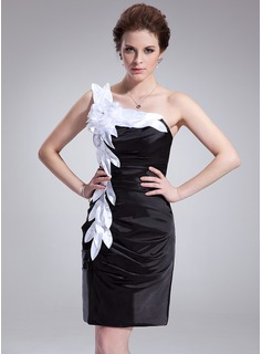 Sheath/Column One-Shoulder Knee-Length Charmeuse Cocktail Dress With Ruffle Sash Flower(s)