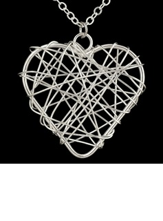 Heart Shaped Silver Plated Women's Fashion Necklace
