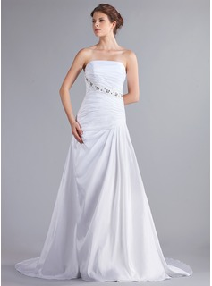 A-Line/Princess Strapless Chapel Train Taffeta Wedding Dress With Ruffle Beadwork