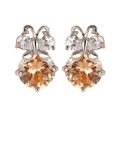 Pretty Zircon/Platinum Plated Earrings