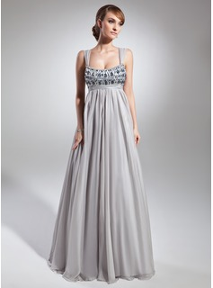 Empire Scoop Neck Floor-Length Chiffon Charmeuse Prom Dress With Ruffle Beading Sequins