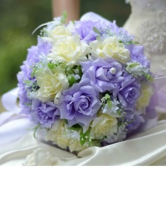 Ivory & Lilac Round Satin Wedding Bouquet