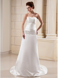 Sheath/Column Sweetheart Chapel Train Taffeta Satin Wedding Dress With Ruffle Lace Beading