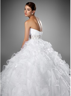 Ball-Gown Sweetheart Chapel Train Organza Satin Wedding Dress With Beading Cascading Ruffles