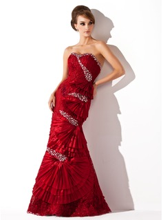 Mermaid Sweetheart Floor-Length Taffeta Lace Prom Dress With Beading