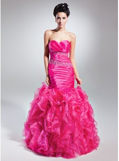 Empire Sweetheart Floor-Length Organza Prom Dress With Ruffle Beading (018015052)