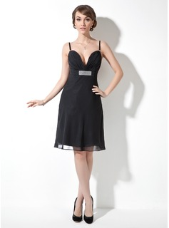 A-Line/Princess Sweetheart Knee-Length Chiffon Cocktail Dress With Ruffle Beading (016008396)