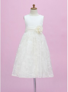A-Line/Princess Scoop Neck Ankle-Length Satin Tulle Flower Girl Dress With Beading Flower(s) (010005340)