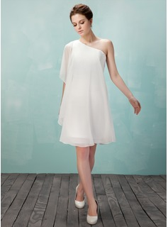 Sheath One-Shoulder Knee-Length Chiffon Homecoming Dress