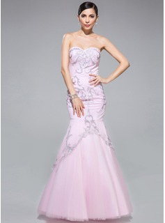 Trumpet/Mermaid Sweetheart Floor-Length Tulle Prom Dress With Embroidered