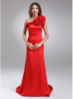 A-Line/Princess One-Shoulder Court Train Charmeuse Evening Dress With Flower(s) (017022542)