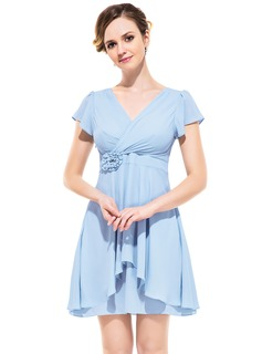 A-Line/Princess V-neck Short/Mini Chiffon Bridesmaid Dress With Flower(s) Cascading Ruffles