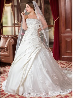 Ball-Gown Strapless Chapel Train Satin Tulle Wedding Dress With Ruffle Lace Beadwork Sequins (002000616)