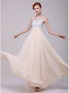 A-Line/Princess V-neck Floor-Length Chiffon Holiday Dress With Ruffle Beading (020016199)