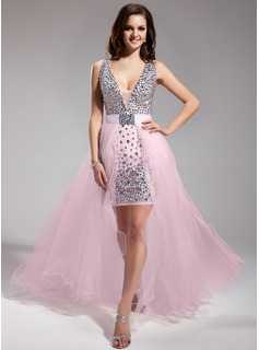 Sheath V-neck Asymmetrical Detachable Chiffon Tulle Prom Dress With Beading