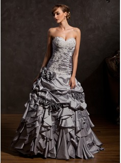 Ball-Gown Sweetheart Floor-Length Taffeta Quinceanera Dress With Ruffle Lace Flower(s)