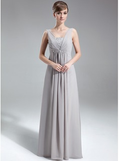 A-Line/Princess V-neck Floor-Length Chiffon Holiday Dress With Ruffle Beading Sequins