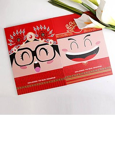 Asian Themed Double Side Pringting Cartoon Bride And Groom Design Guest Book(101018219)