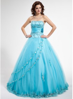 Ball-Gown Strapless Floor-Length Satin Tulle Quinceanera Dress With Beading Appliques Lace Flower(s) Sequins