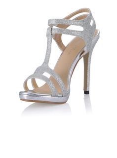 Sparkling Glitter Stiletto Heel Sandals Pumps With Buckle shoes