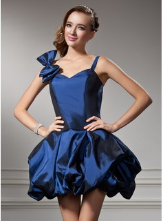A-Line/Princess Sweetheart Short/Mini Taffeta Homecoming Dress With Ruffle (022020781)