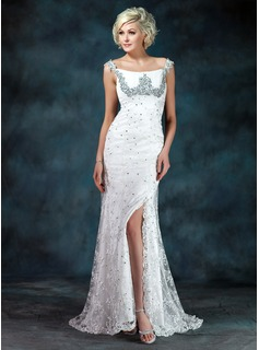 A-Line/Princess Off-the-Shoulder Sweep Train Chiffon Charmeuse Lace Mother of the Bride Dress With Ruffle Beading Sequins