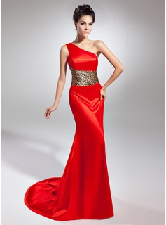 Sheath One-Shoulder Court Train Charmeuse Evening Dress (017015048)