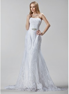 Sheath/Column Sweetheart Court Train Satin Tulle Wedding Dress With Embroidery Lace Beadwork Sequins (002005188)