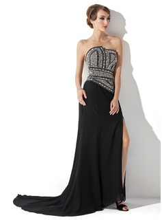 A-Line/Princess Scalloped Neck Court Train Chiffon Evening Dress With Beading