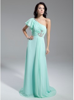 A-Line/Princess One-Shoulder Court Train Chiffon Holiday Dress With Ruffle Beading