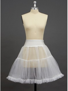 Women Tulle Netting/Spandex Knee-Length 2 Tiers Petticoats