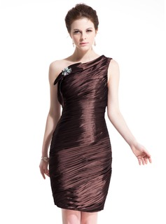 Sheath/Column One-Shoulder Knee-Length Taffeta Cocktail Dress With Ruffle Beading Bow(s)