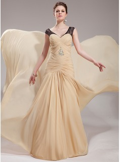 Trumpet/Mermaid V-neck Court Train Chiffon Evening Dress With Ruffle Lace Beading