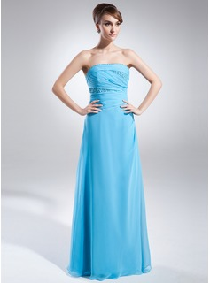 A-Line/Princess Strapless Floor-Length Chiffon Evening Dress With Ruffle Beading