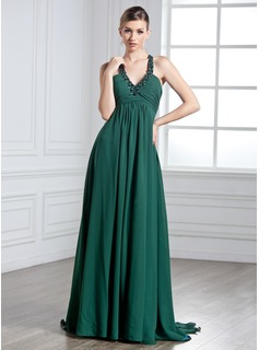 Empire Halter Watteau Train Chiffon Holiday Dress With Ruffle Beading