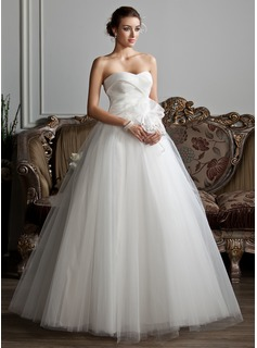 Ball-Gown Sweetheart Floor-Length Organza Tulle Wedding Dress With Ruffle Beadwork Flower(s)
