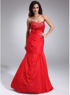 Mermaid Sweetheart Floor-Length Taffeta Evening Dress With Ruffle Beading (017018681)
