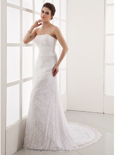 A-Line/Princess Strapless Court Train Satin Lace Wedding Dress With Beadwork