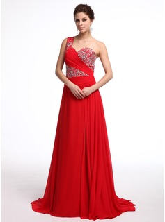 A-Line/Princess One-Shoulder Watteau Train Chiffon Evening Dress With Ruffle Beading (017026236)