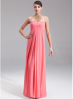 Empire Sweetheart Floor-Length Chiffon Bridesmaid Dress With Ruffle