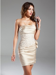 Sheath Strapless Short/Mini Satin Cocktail Dress With Ruffle Lace Flower(s) (016015329)