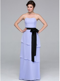A-Line/Princess Sweetheart Floor-Length Chiffon Bridesmaid Dress With Sash